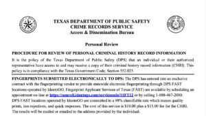 Section 411.0765 Disclosure by Criminal Justice Agency